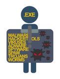 Dossier de virus de label de caractères de protection de l'ordinateur Exe Photographie stock libre de droits