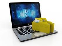 Dossier in gegevensbestand - laptop en omslagen, het 3d teruggeven, Dossieropslag Stock Foto's