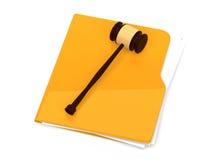 Dossier jaune avec le marteau de juge là-dessus - Image libre de droits