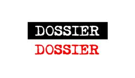 Dossier rubber stamp badge with typewriter set text logo design Royalty Free Stock Photo