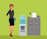 Dossier van het het waterkabinet van het vrouwen breaktime bureau het koelere vector illustratie