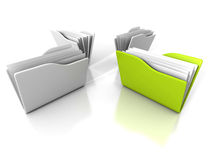 Dossier vert différent de document de groupe illustration stock