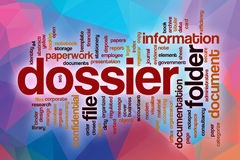 Dossier word cloud with abstract background Royalty Free Stock Image