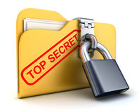 Dossierbovenkant - geheim en slot Stock Foto