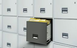 Dossierkabinet met open lade en dossiers Stock Fotografie