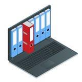 Dossierkabinetten binnen het scherm van laptop computer Laptop en dossierkabinet 3d isometrische illustratie van de gegevensopsla Royalty-vrije Stock Foto