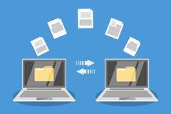 Dossieroverdracht tussen laptop computers stock illustratie