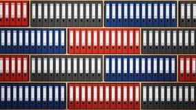 Dossiers colorés multi disposés à l'intérieur des étagères en bois illustration 3D illustration stock