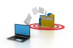 Dossiers de copie d'ordinateur portable Photo stock