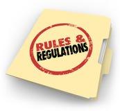 Dossiers de documents emboutis de dossier de Manille de règlements de règles illustration stock