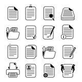 Dossiers de documents et icônes de dossiers réglées illustration stock