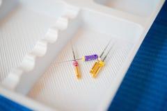 Dossiers Endodontic utilisés dans le traitement de canal radiculaire Photo libre de droits