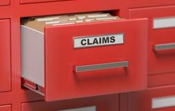 Dossiers et documents de réclamations dans le coffret dans le bureau 3D a rendu l'illustration Image stock
