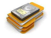 Dossiers et dossiers avec l'unité de disque dur Photographie stock libre de droits