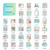 Dossiers et ligne plate icônes de documents illustration de vecteur