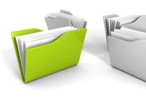 Dossiers gris de bureau avec le vert un sur le fond blanc illustration libre de droits