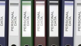 Dossiers multiples de bureau avec les labels personnels des textes de données banque de vidéos