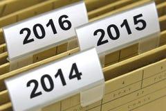 Dossiers pendant l'année 2014, 2015, 2016 Photographie stock