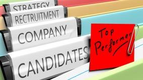 Dossiers sur les candidats supérieurs d'interprète pour une position de société illustration de vecteur
