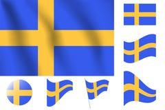 dostępne bandery stylu szkła Szwecji wektora Realistyczna wektorowa ilustraci flaga Krajowy symbol Fotografia Stock