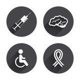 2 dostępnej eps ikon odosobnionej medycyny ustalony biel Strzykawka, niepełnosprawna, mózg Obraz Stock