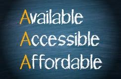 Dostępny, dostępny i niedrogi, fotografia stock