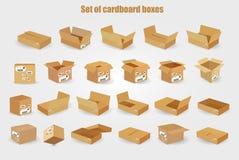 dostępnych pudełek kartonowy kartoteki setu wektor Zdjęcia Stock