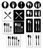 dostępnych tło cutlery różnych rozwidlenia ikon nożowy sylwetek łyżki wektor Set tableware ilustracje Obrazy Stock