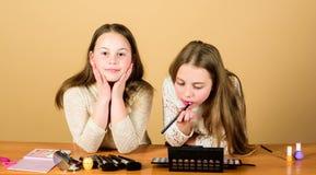 Dostaje kreatywnie z makeup kolekcją Mali makeup artyści przy pracą Małe śliczne dziewczyny stosuje makeup na twarzy skórze obraz stock