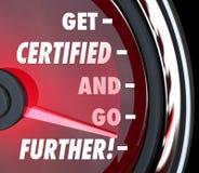 Dostaje Poświadczający i Iść Dalszy szybkościomierza certyfikata licencja Q Obrazy Royalty Free