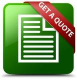 Dostaje wycena strony ikony zieleni kwadrata guzika Fotografia Stock