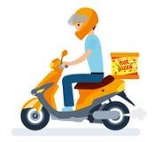 Dostawa facet na moped niesie pizzę postać z kreskówki dzieci kolorowa graficzna ilustracja ilustracji