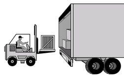 Dostawa i ładowanie ładunek samochodem i ładowaczem przy ilustracji