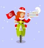 Dostawy Santa dziewczyna na hulajnoga z pizzą, mieszkanie Zdjęcie Royalty Free