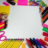 Dostawy szkolna i biurowa rama Obraz Stock