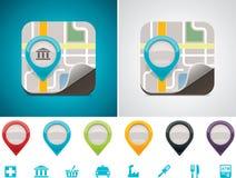 dostosowana ikony lokaci mapa Zdjęcia Royalty Free