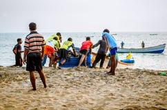 Dosunięcie łódź morze Obrazy Stock