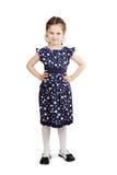 Dosyć śliczna młoda dziewczyna jest ubranym zmrok - błękit suknia obraz royalty free
