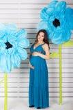 Dosyć ciężarni dziewczyny blisko papieru błękita kwiaty Obrazy Stock