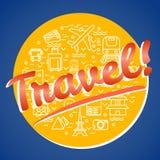 Dosyć cienieje kreskowego wektorowego ilustracyjnego cirle z podróży ikon symbolami fotografia royalty free