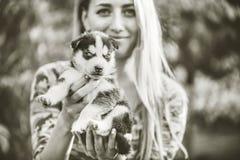 Dosyć mały łuskowaty szczeniak plenerowy w kobiet rękach zdjęcia royalty free