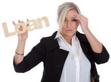 dosyć nieszczęśliwa bizneswoman pożyczka Fotografia Stock