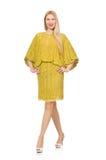 Dosyć wysoka kobieta w kolor żółty sukni odizolowywającej dalej obraz stock