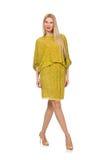 Dosyć wysoka kobieta w kolor żółty sukni odizolowywającej dalej obrazy royalty free