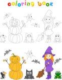 Dosyć życzliwa czarownica z broomstick, dyniowy bałwan, surpri Obraz Royalty Free