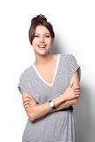 Dosyć z podnieceniem kobiety szczęśliwy uśmiech, młody atrakcyjny dziewczyna portret Fotografia Stock
