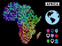 Dot Africa Map coloreado Stock de ilustración