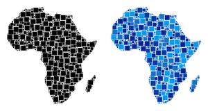 Dot Africa Map con variante azul Stock de ilustración
