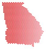 Dot American State Georgia Map rouge illustration de vecteur