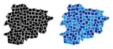Dot Andorra Map avec la variante bleue Illustration de Vecteur
